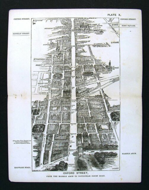 Marble Arch London Map.1886 London Bird S Eye View Map Oxford Street Marble Arch To
