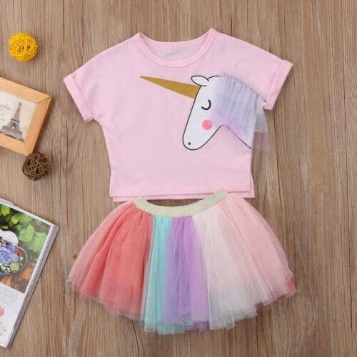 NEW Unicorn Girls Short Sleeve Shirt Rainbow Tutu Skirt Outfit 2T 3T 4T 5T