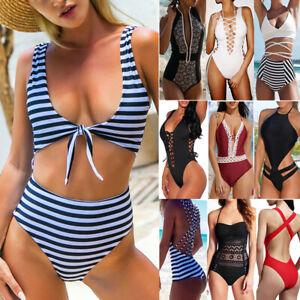 97a2125a44 2019 Sexy Women One Piece Swimsuit Push-up Padded Bikini Swimwear ...