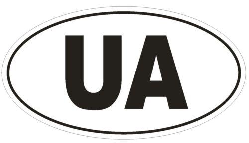 UA Ukraine Country Code Oval Bumper Sticker or Helmet Sticker D967
