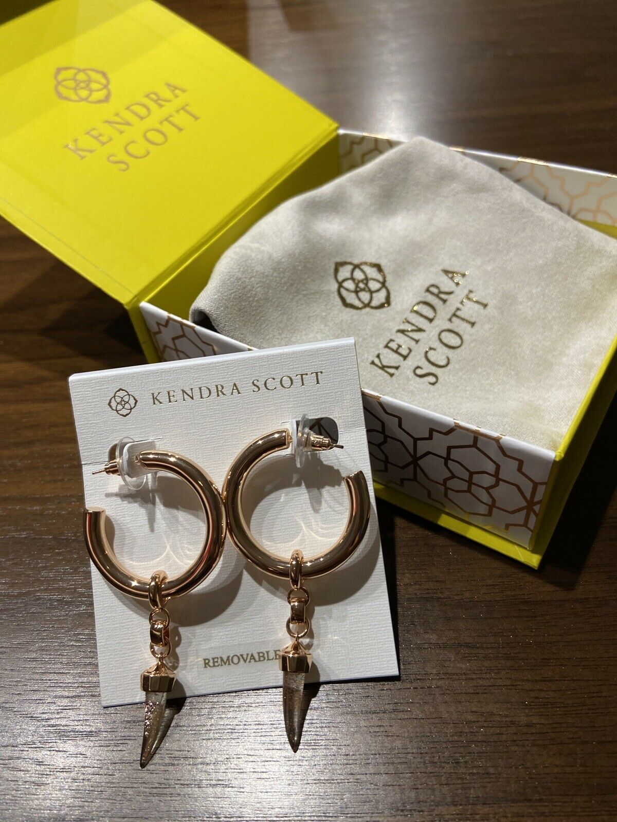 - Kendra Scott Earrings - Samuel Rose Gold Charm Hoops In Rose Gold Dusted Mix
