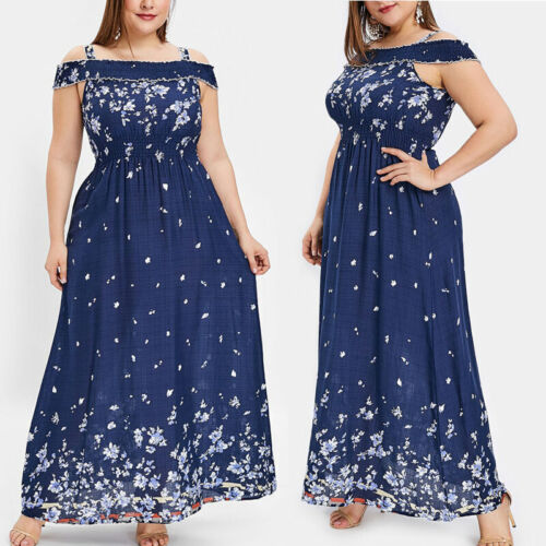 Women Plus Size Summer Floral Maxi Long Dress Ladies Party Holiday Boho Sundress