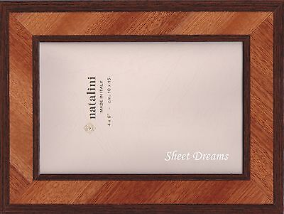 Natalini Hand Made Italy Marquetry Brown 4x6 Photo Picture Frame New