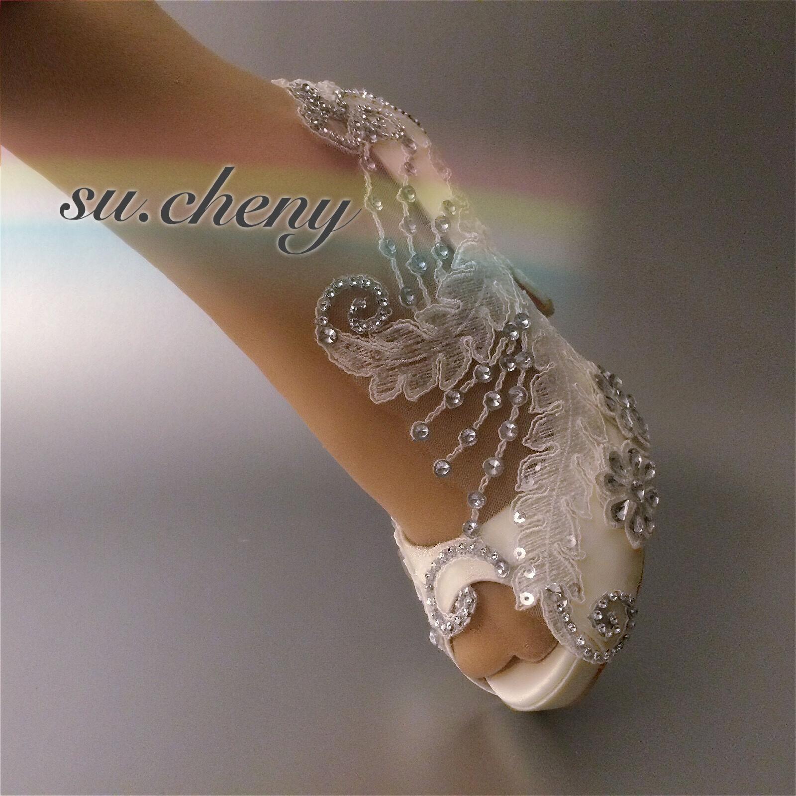 Su.cheny 3  4  heel satin white ivory lace crystal open toe Wedding bridal shoes