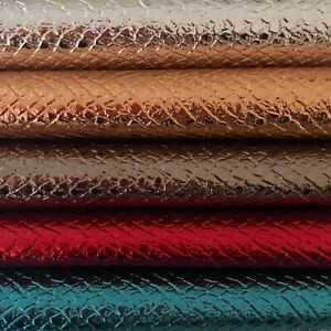 SNAKE-BRILLIANT-FOIL-COATED-SHINY-LEATHERETTE-FAUX-LEATHER-VINYL