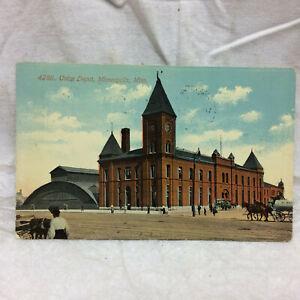 Vintage-1911-Postcard-Union-Depot-Minneapolis-Minnesota