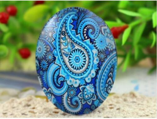 30x40mm Mixed Blue Paisley Oval Glass Cabochon Cameo Pendant Jewelry 10pcs//lot