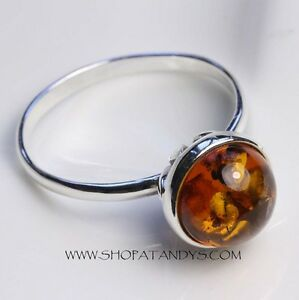 GENUINE-COGNAC-BALTIC-AMBER-925-STERLING-SILVER-RING-SIZE-10