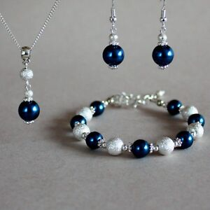 Dark Prussian Blue Pearl Necklace Bracelet Earrings Silver Wedding