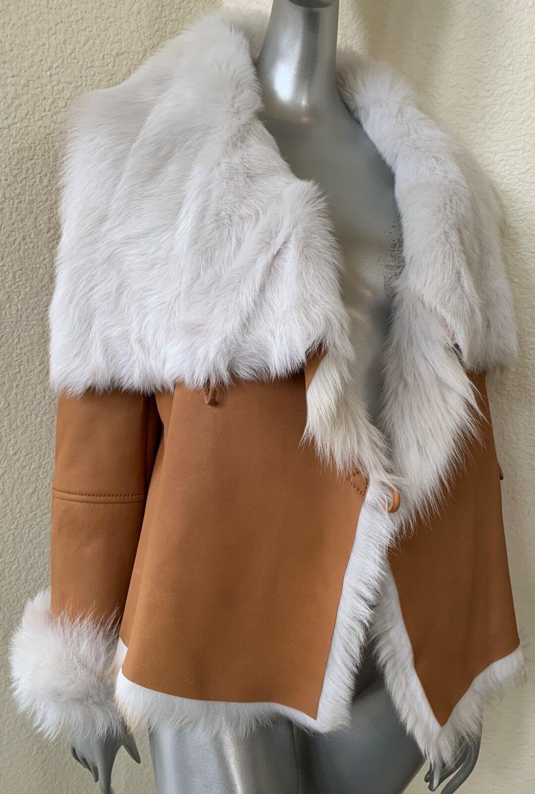 NWT  1.5K  Toscana Lamb Sheepskin Lambskin Shearling Mouton Fur Car Coat XS