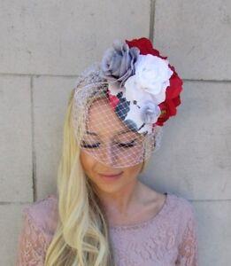 6209f50531361 Image is loading Grey-White-Red-Rose-Birdcage-Veil-Flower-Fascinator-