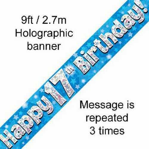 17th  BIRTHDAY AGE 17 BOY BLUE-FOIL BALLOON DISPLAY-TABLE CENTREPIECE-BANNER