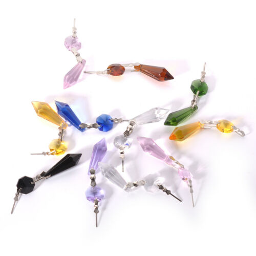 10pcs Crystal Chandelier Lamp Icicle Prisms Parts Hanging Drops Pendants 38mm
