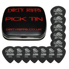 12 x Dunlop Tortex Pitch Black Jazz Guitar Picks - 1.00mm In A Handy Pick Tin