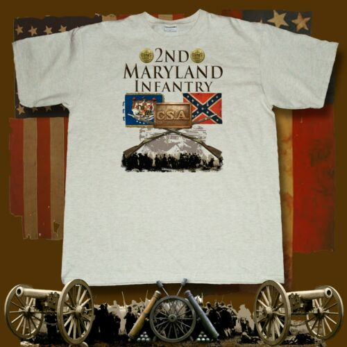 2nd Maryland Infantry American Civil War themed printed ash t-shirt