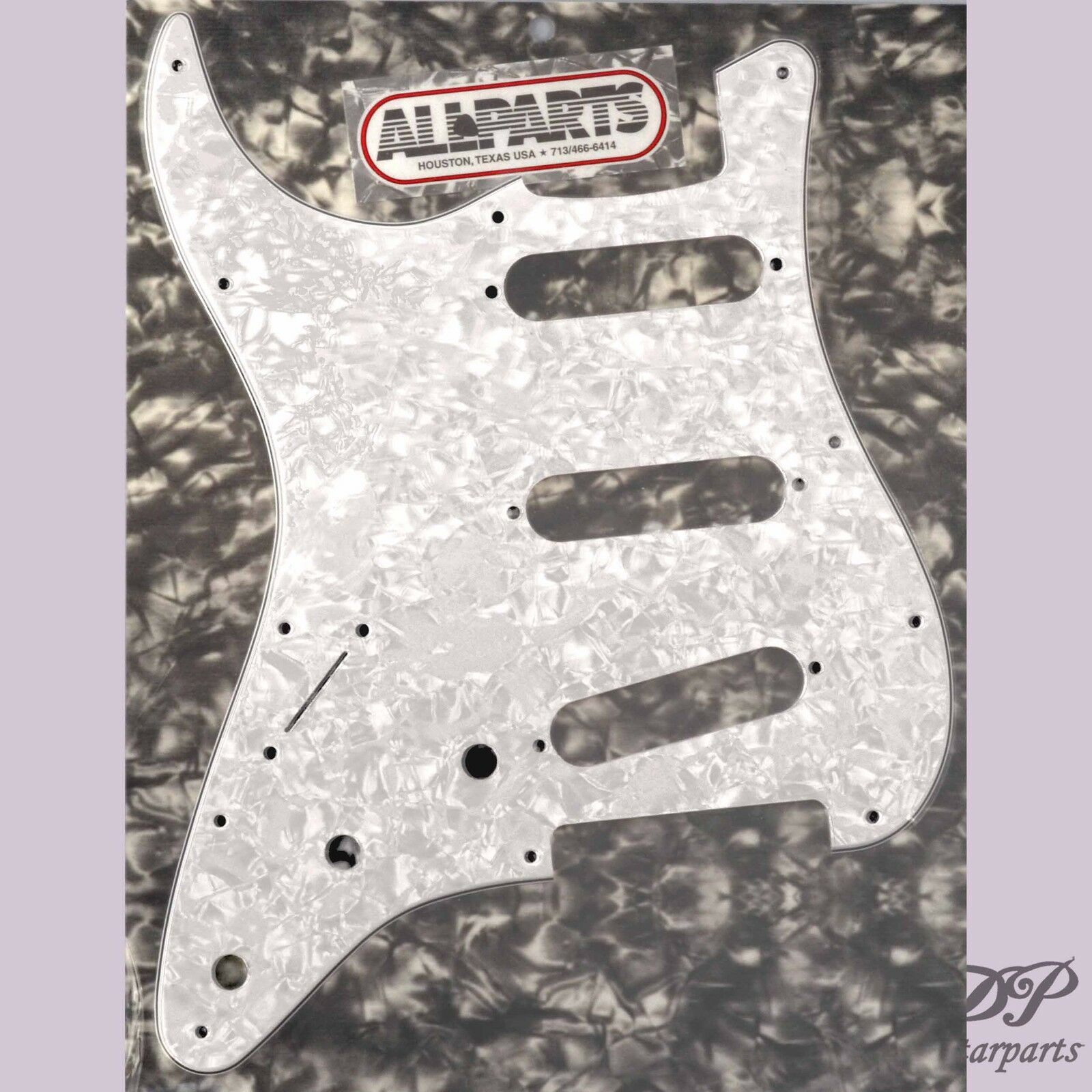Pickguard SSS Stratocaster bianca Pearloid Gaucher Lefty 3 ply 11H  PG-0552-L55