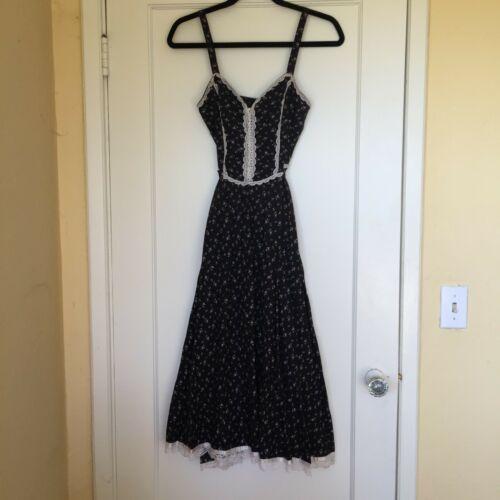 Authentic Vintage Gunne Sax Dress Black Lace Trim