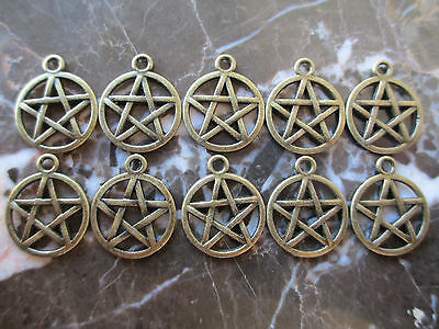Lot of 10 Bronze Wiccan Star Pentagram Pentacles Charms Medallions-Wicca Gothic