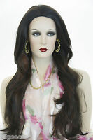 Darkest Brown/fox Red Highlights Brunette Long Skin Top Straight Wigs