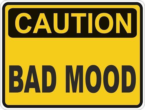 1x CAUTION BAD MOOD WARNING FUNNY VINYL STICKER DECAL