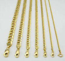 "10K Yellow Gold 2mm-11mm Curb Cuban Chain Link Pendant Necklace Bracelet, 7""-30"""
