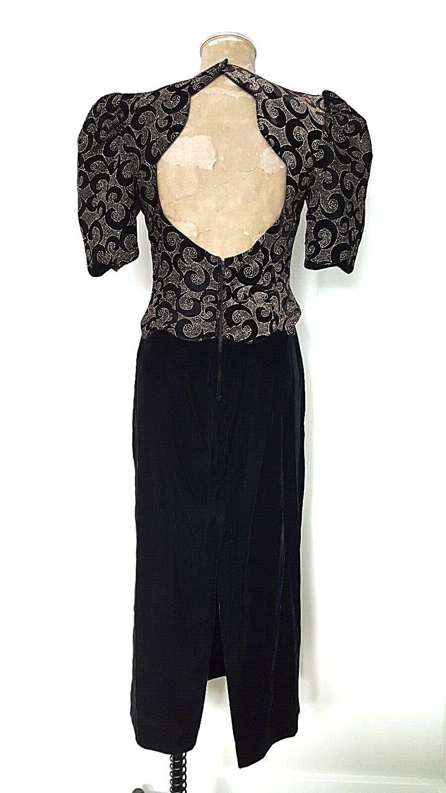 Vintage 80s Balloon Sleeve Velvet Dress Size Medi… - image 5