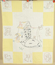 "Vintage 30's ""Old Woman Who Lived in a Shoe"" Nursery Rhyme Antique Crib Quilt!"