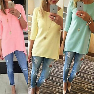 Womens-Crew-Neck-Pullover-Long-Tunic-Tops-Casual-3-4-Sleeve-Solid-Blouse-T-Shirt