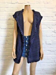 Gilet Beautiful Fringed Rrp M Size £240 Marella Woven Linen HAwnwqIZ