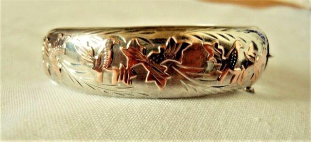 Vintage Joseph Smith & Sons Birmingham Sterling Silver Rose Gold Bangle Bracelet