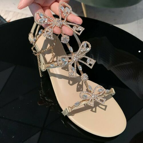 Women Med Block Hees Rhinestone Bows Sandals Fashion Party Strap Shoes Peep Toes