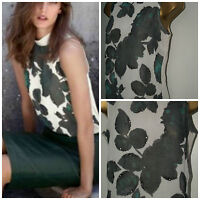 NEW Ladies NEXT Cream Embellished Floral Print TOP Sleeveless High Neck Blouse