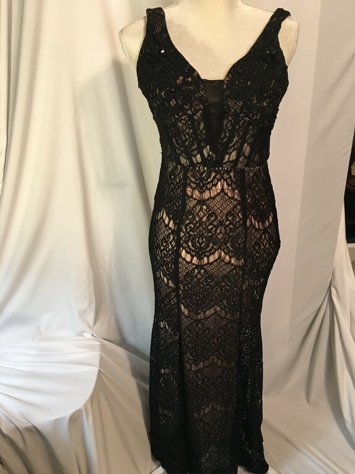 Prom Dress, Black Lace, Full Length, Size: Junior 1 - Great Cond