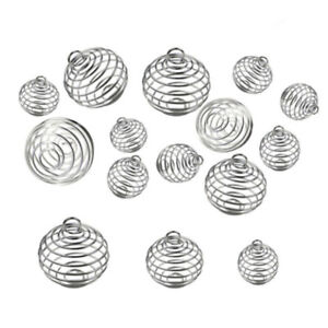 30PCS-Spiral-Bead-Cages-Pendants-Silver-Plated-Craft-Jewelry-Making-DIY-Gift