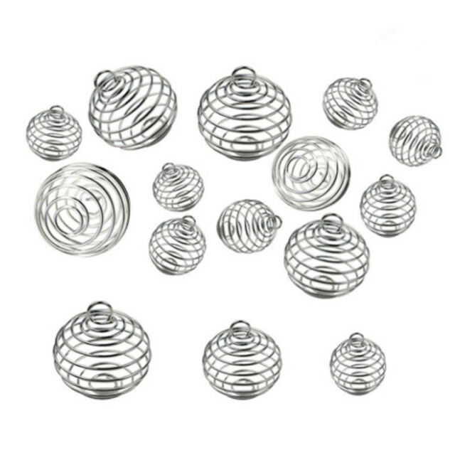 30PCS Spiral Bead Cages Pendants Silver Plated Craft Jewelry Making DIY Gift XS