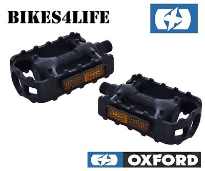 Oxford Bicycle Cycle Bike Junior Resin 1//2/'/' Pedals /& Reflectors Black PE788