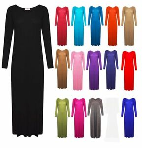 2427a6c8 Details about Womens New Plain Long Sleeves Ladies Flared Stretchy Jersey  Maxi Dress Plus Size