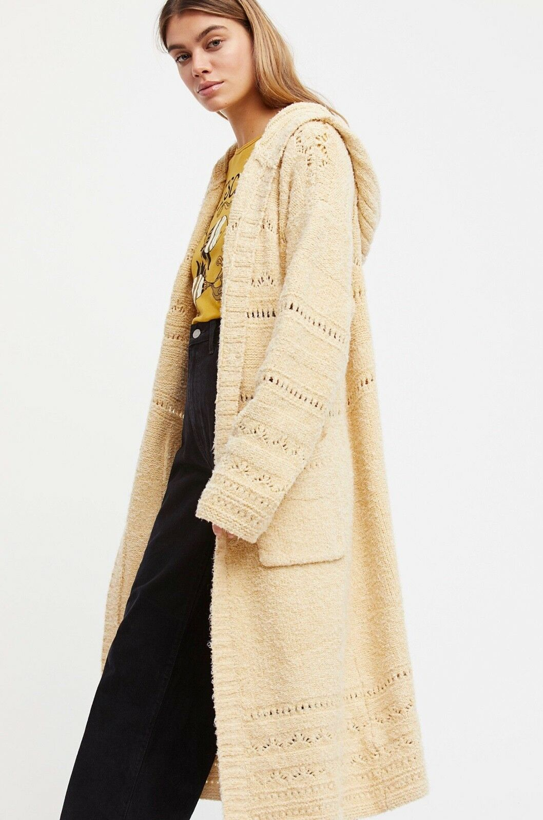 NEW  198 Free People Sand Dollar Cardigan Sweater Coat in Natural XS Oversized