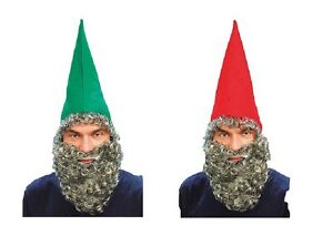 CHRISTMAS GNOME DWARF HAT + BEARD 2 COLOURS FANCY DRESS ACCESSORY  f73193ab89f0