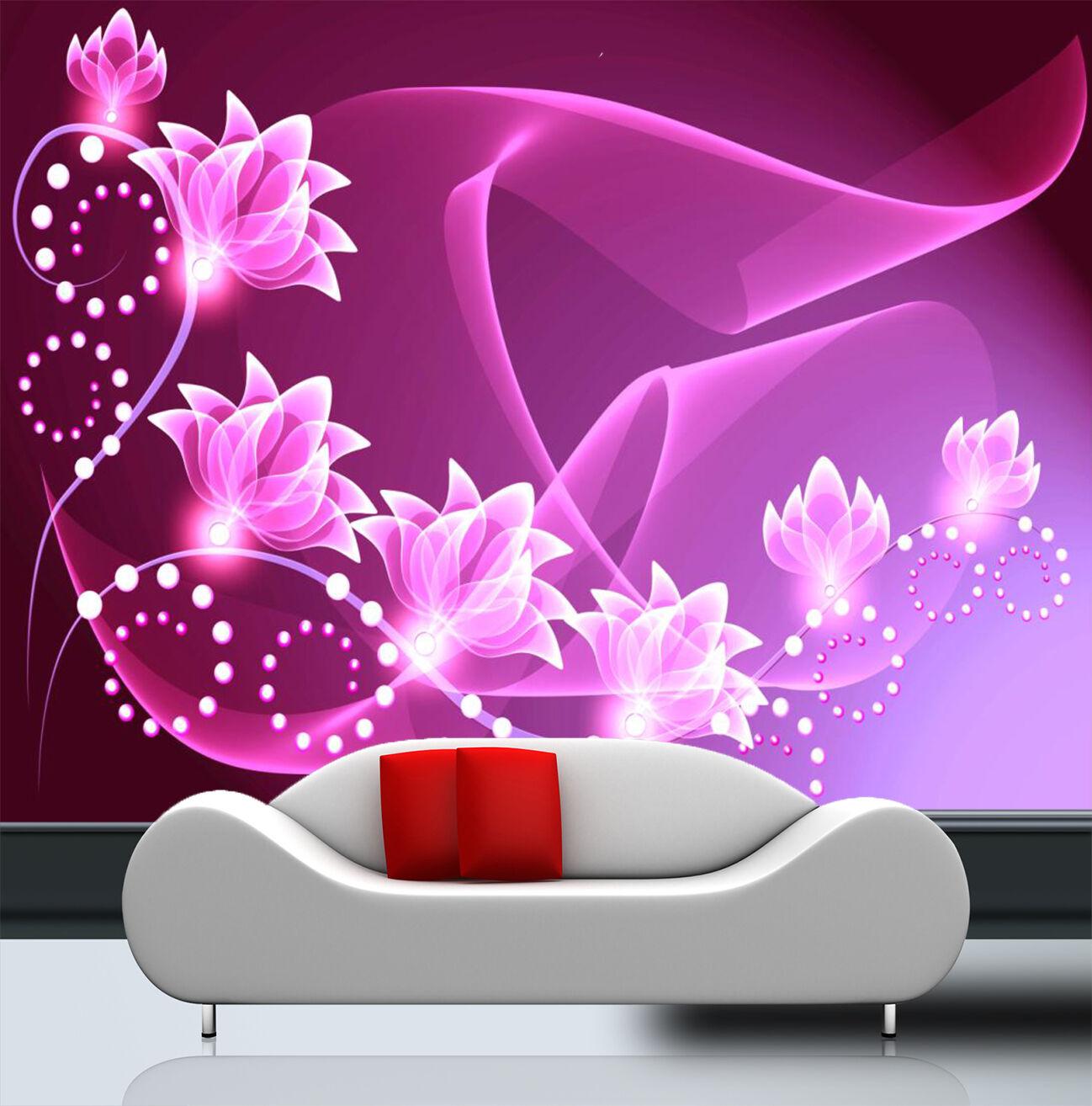 3D Lys Pourpre.5 Photo Papier Peint en Autocollant Murale Plafond Chambre Art