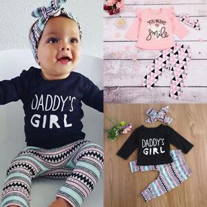 3pcs Newborn Kids Baby Girl Clothes T-shirt Tops+Long Pants+Headband Outfits Set