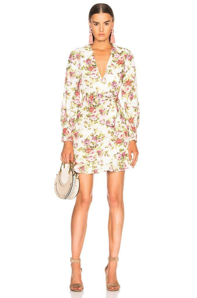 Nuevo con etiquetas  Zimmermann Sunny Flounce Vestido Sandía Ramo Floral Talla 1 S  630  barato y de moda