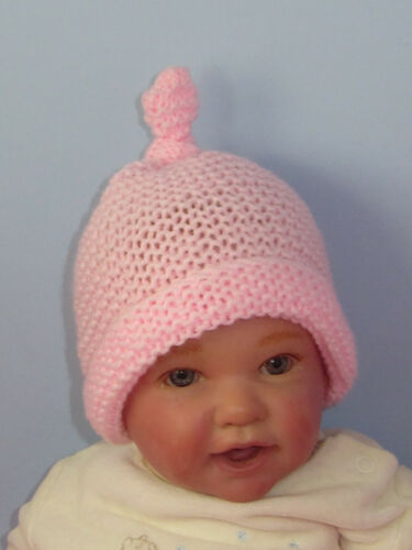 PRINTED INSTRUCTIONS BABY SIMPLE GARTER STITCH TOPKNOT BEANIE KNITTING PATTERN