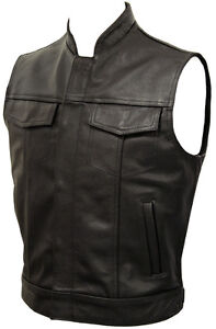 Mens-Anarchy-Motorcycle-Biker-Waistcoat-Full-Real-Leather-Black-Vest-Jacket-Cut