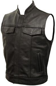 Mens-Anarchy-Motorcycle-Biker-Waistcoat-Full-Real-Leather-Black-Vest-Jacket-Cut