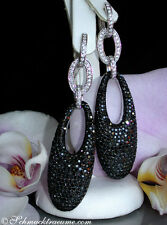 UNÜBERSEHBAR: 7 cm Schwarz-Weiss Diamanten Ohrgehänge, 6,83 cts. WG585 9.540€