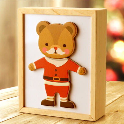 Cartoon Bear Change Clothes Wooden Toy Puzzles Children Magnetic Toys for Play