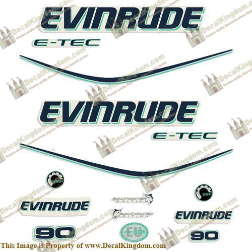 Evinrude 90hp E-Tec Decal Kit - Aqua