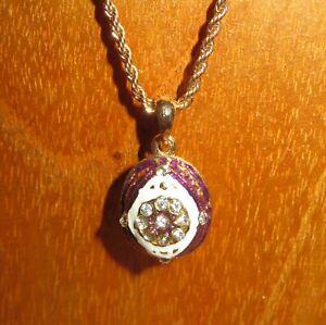 Lilac-White-EGG-Pendant-Genuine-Russian-Necklace-ENAMEL-Swarovsky-Crystal-flower