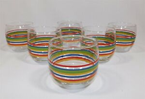 Set-of-6-Fiesta-Ware-Coordinates-8-oz-Juice-Drinking-Glasses-Stripes-Cera